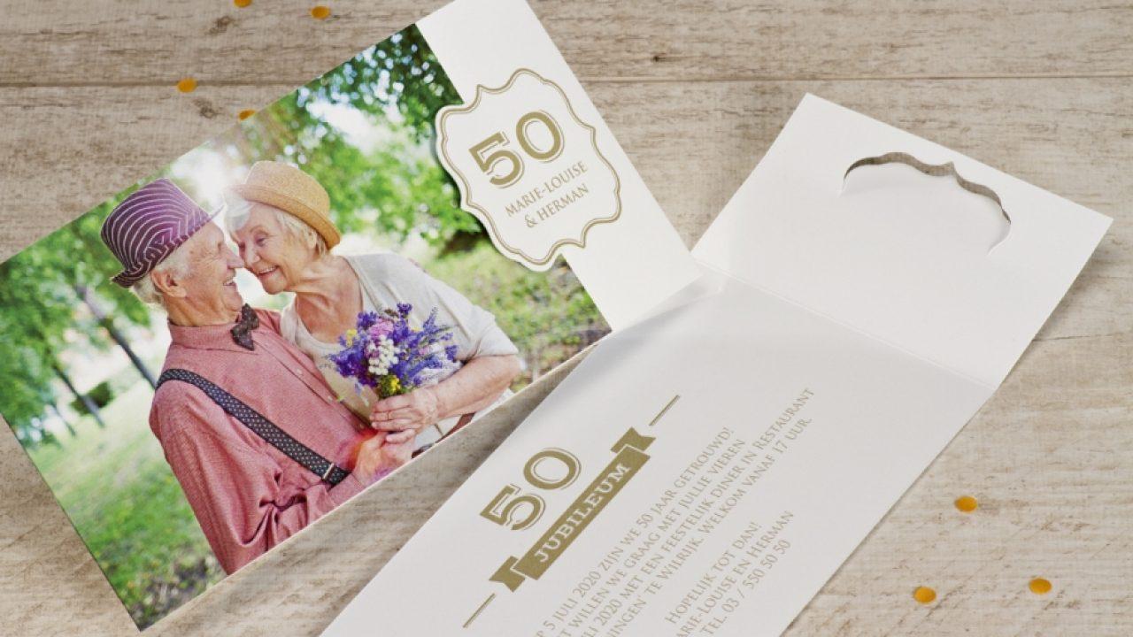 Verwonderend Huwelijksjubileum aankondigen? Kies een gouden uitnodiging! KS-05